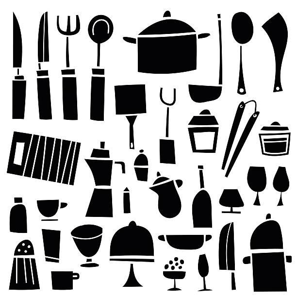 kitchen tools  - retroküchen stock-grafiken, -clipart, -cartoons und -symbole