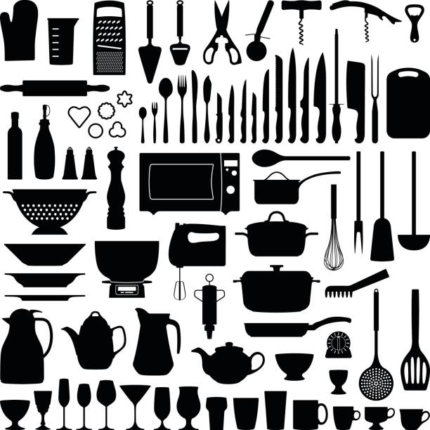 Kitchen tools Kitchen tool collection - vector silhouette illustration cooking silhouettes stock illustrations