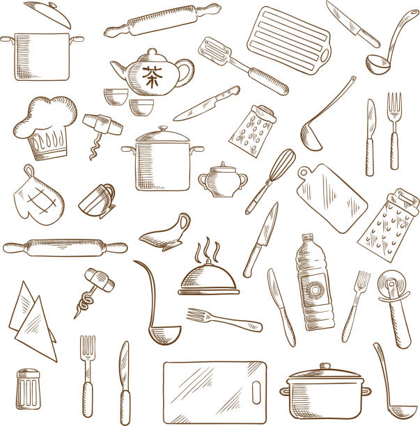 Kitchen utensil and kitchenware icons Kitchenware and utensil icons with pots, ladles and knives, forks, cup and tea set, tray and graters, cutting boards, rolling pins and chef hat, spatula and salt, corkscrews and oil, pizza cutter and whisks, oven glove cooking drawings stock illustrations