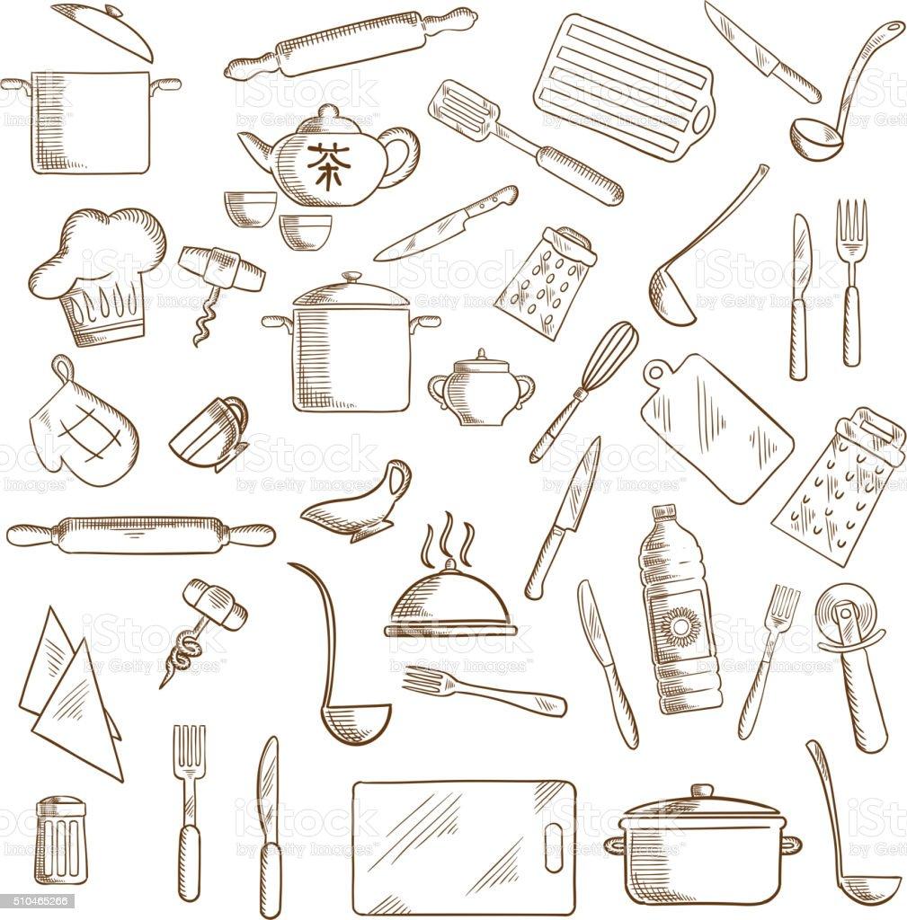 Kitchen utensil and kitchenware icons vector art illustration