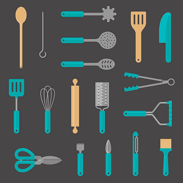 Kitchen Utensil Flat Icons Set of eighteen kitchen utensils drawn in a simple, flat icon style. Includes wooden spoon, skewer, spaghetti strainer, straining spoon, slotted spoon, wooden spatula, silicone spatula, plastic spatula, whisk, rolling pin, grater, tongs, masher, scissors, zester, juicer, peeler and basting brush – all on labelled layers. grater utensil stock illustrations