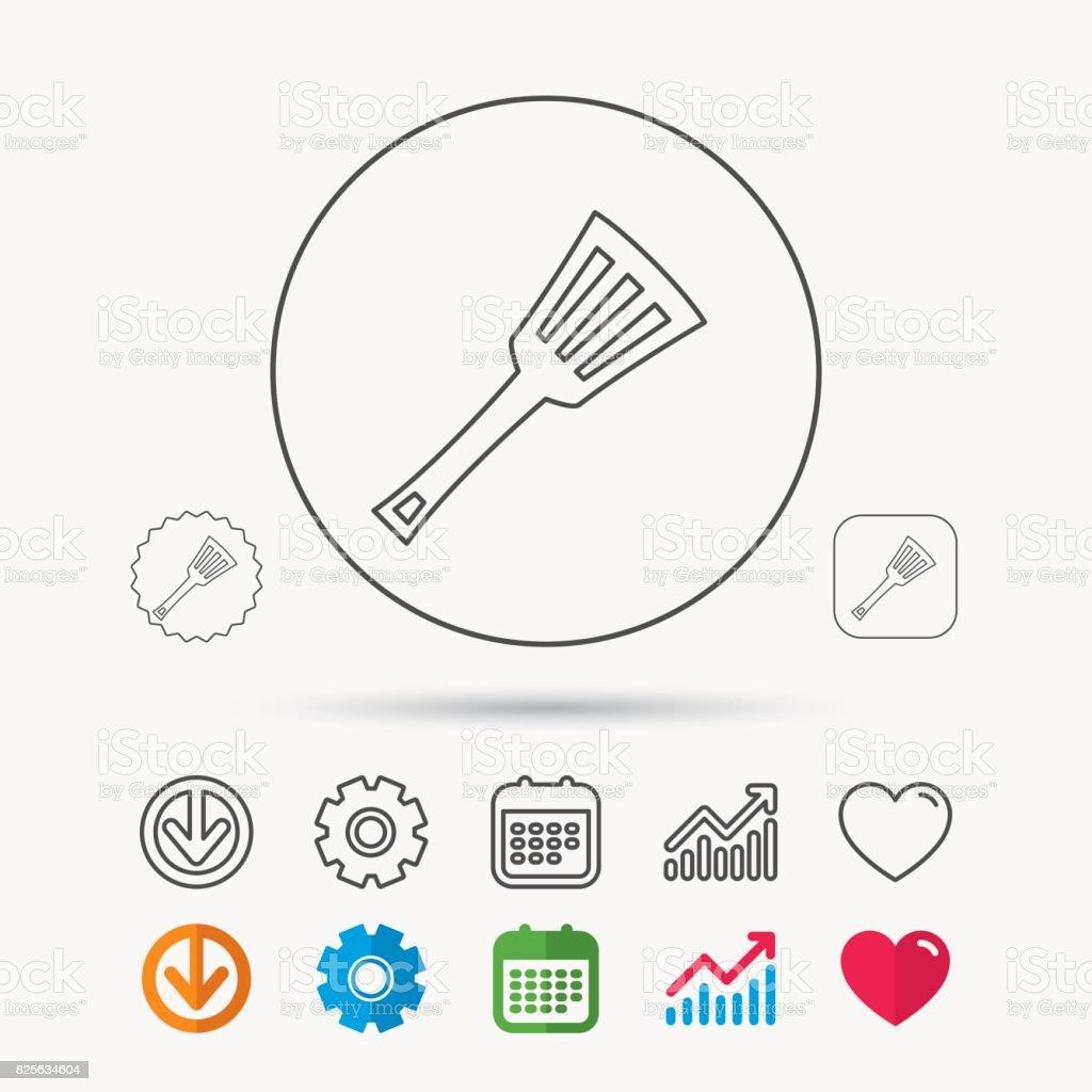 Utensílio de cozinha ícone. Placa Espátula de utensílios de cozinha. - ilustração de arte em vetor