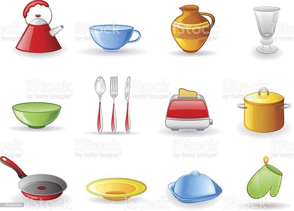 Kitchen utensil icon set royalty-free stock vector art