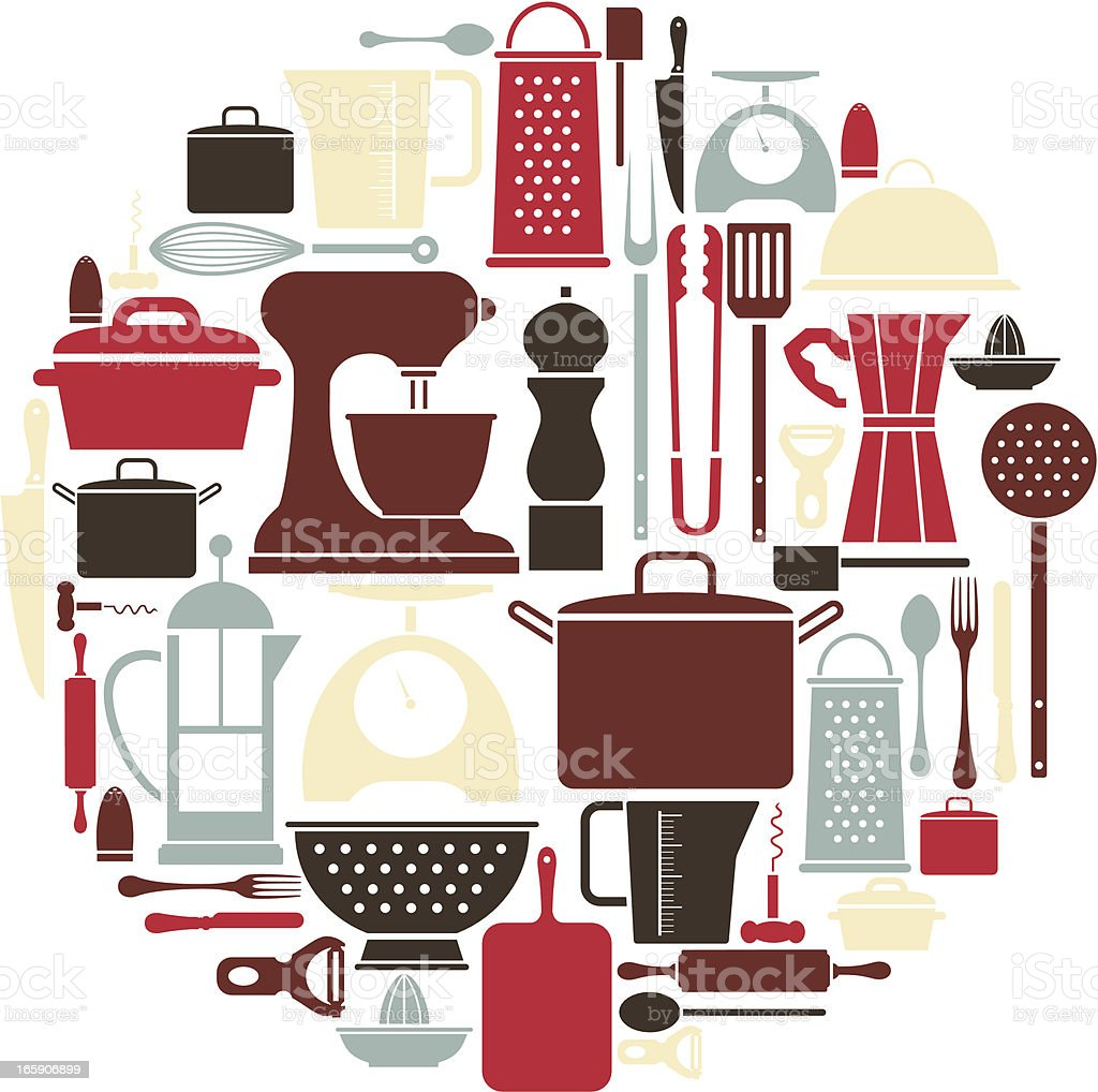 Kitchen Utensil Icon Set vector art illustration