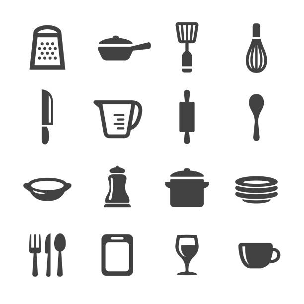 Kitchen Utensil Icons - Acme Series Kitchen Utensil, Cooking, Kitchen, measuring cup stock illustrations
