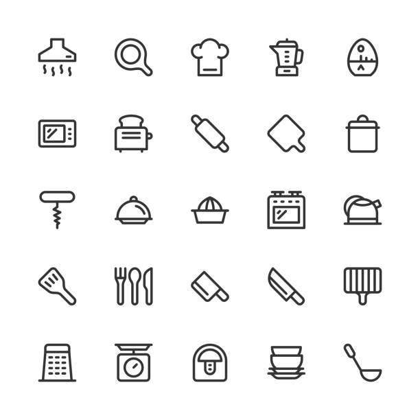 Kitchen Utensil Icons - Line Series Kitchen Utensil Icons Line Series Vector EPS File. cooking competition stock illustrations
