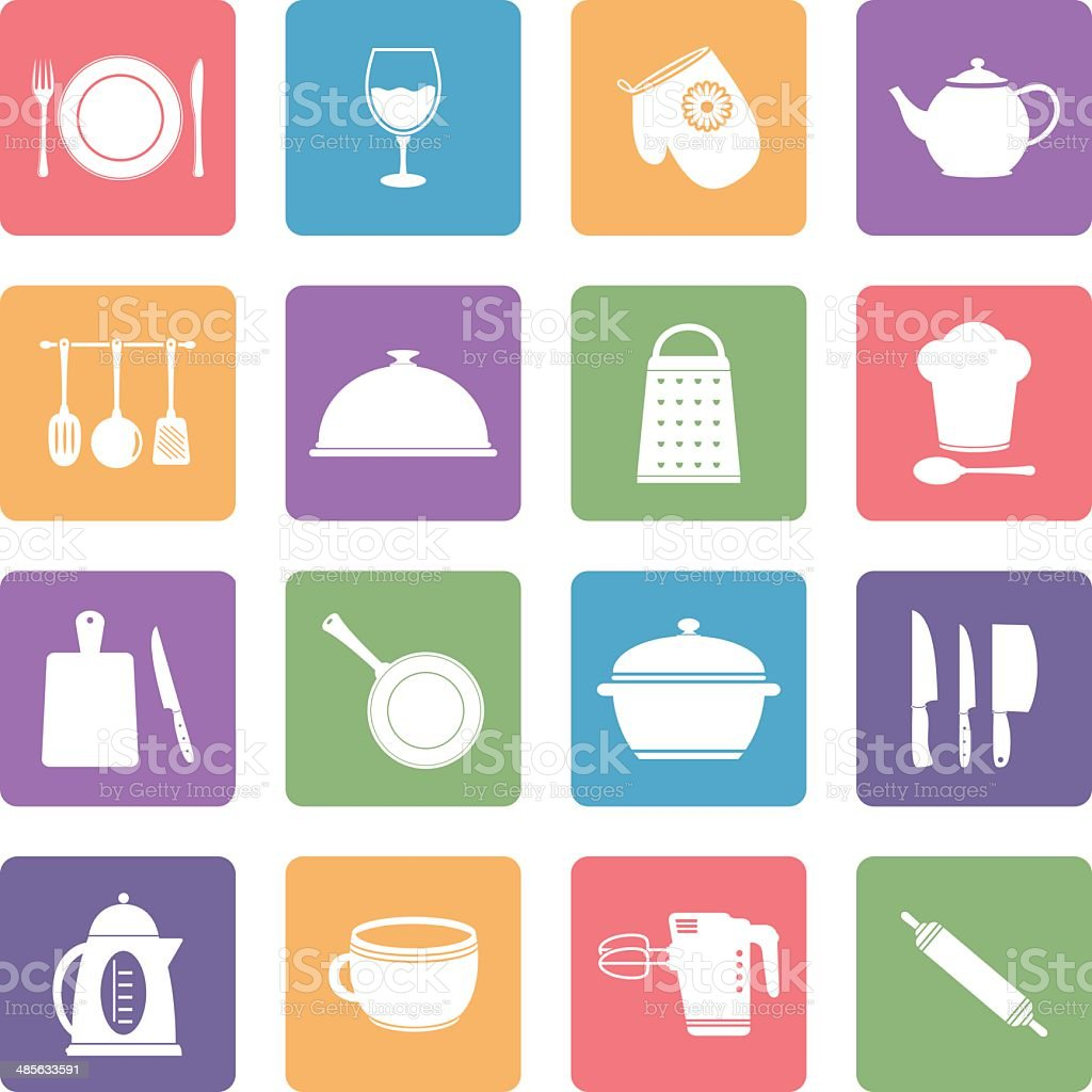 Kitchen utensil icons vector art illustration