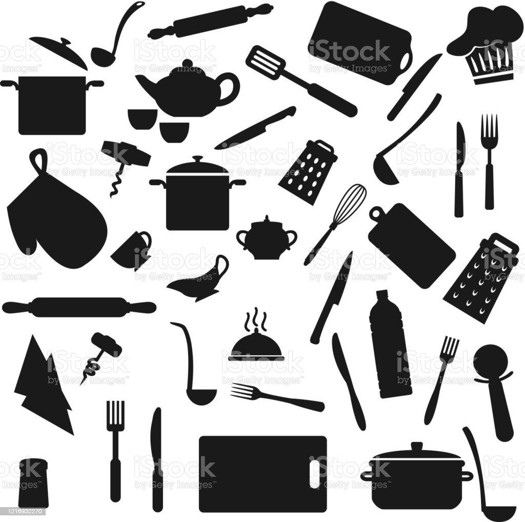 Kuchenutensilien Kuchenutensilien Schwarze Silhouetten Stock Vektor Art Und Mehr Bilder Von Bauholz Brett Istock