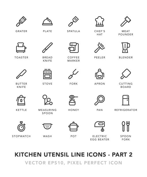 Kitchen Utensil Line Icons - Part 2 Kitchen Utensil Line Icons - Part 2 Vector EPS 10 File, Pixel Perfect Icons. grater utensil stock illustrations