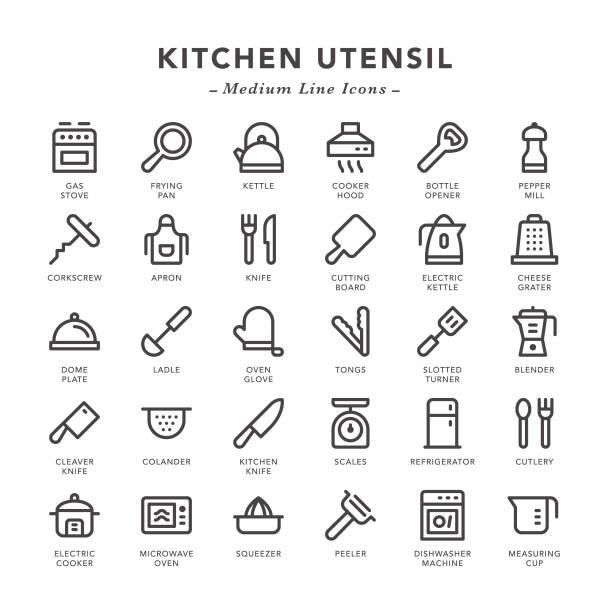 Kitchen Utensil - Medium Line Icons Kitchen Utensil - Medium Line Icons - Vector EPS 10 File, Pixel Perfect 30 Icons. kitchenware department stock illustrations