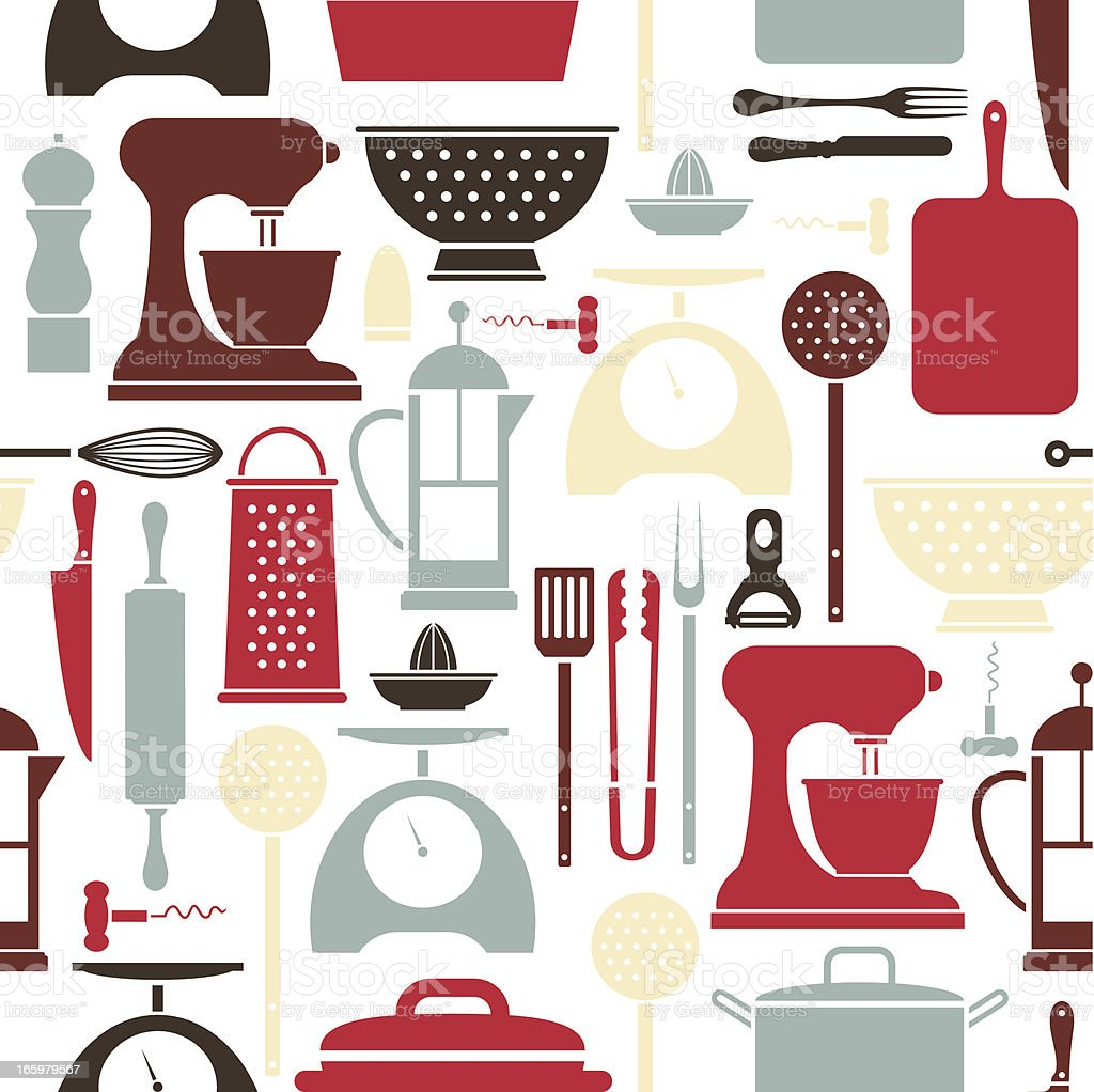 Kitchen Utensil Pattern vector art illustration