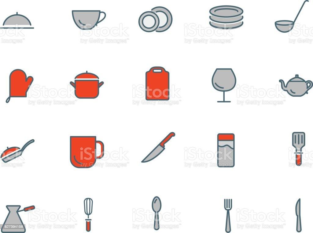 Ilustracion De Juego De Utensilios De Cocina De Iconos Plana Delgada