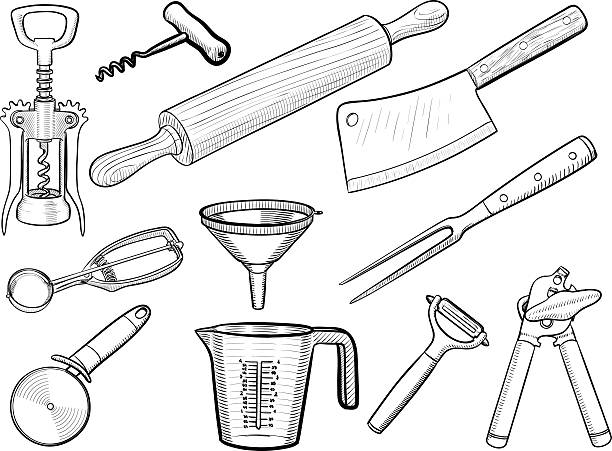 Kitchen utensil sketches Vector hand drawn kitchen equipment and tableware rolling pin stock illustrations