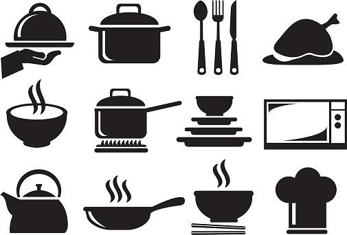 Kitchen Utensil Vector Icon Set