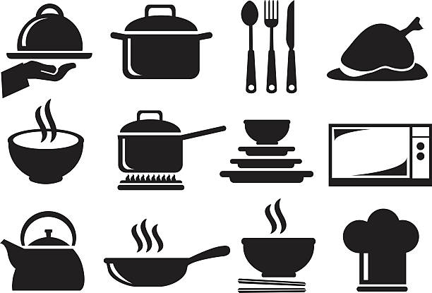 Kitchen Utensil Vector Icon Set Black and white vector icons of kitchen utensils and equipment for cooking and food preparation isolated on white background. cooking clipart stock illustrations