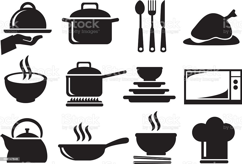 Kitchen Utensil Vector Icon Set vector art illustration