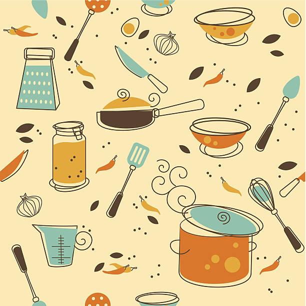 Kitchen Utensil Seamless Pattern of Kitchen utensil in Retro-Styled cooking designs stock illustrations
