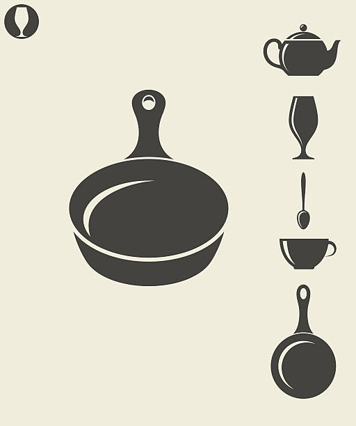 Kitchen utensil Vector illustration (EPS) frying pan stock illustrations
