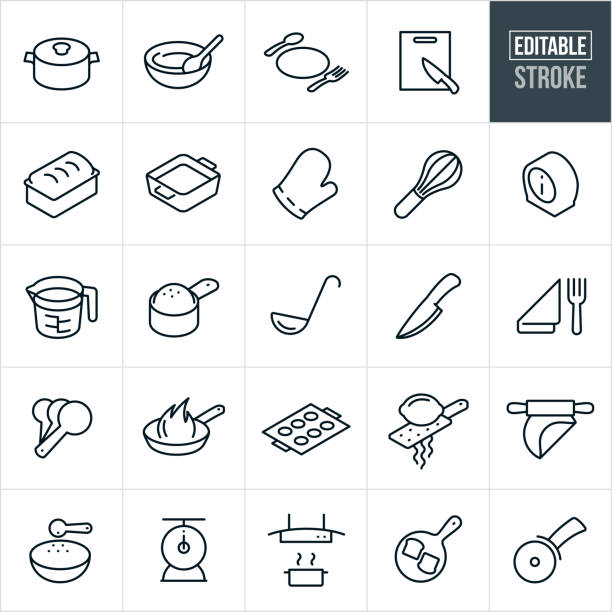 Kitchen Utensils and Accessories Thin Line Icons - Editable Stroke A set of kitchen utensils and accessories icons that include editable strokes or outlines using the EPS vector file. The icons include a pot, mixing bowl, plate, silverware, cutting board, kitchen knife, bread pan, casserole dish, oven mitt, wire whisk, timer, measuring cup, ladle, place setting, measuring spoons, frying pan, cookie sheet, lemon zester, rolling pin, food scale, range hood and pizza cutter. mixing bowl stock illustrations
