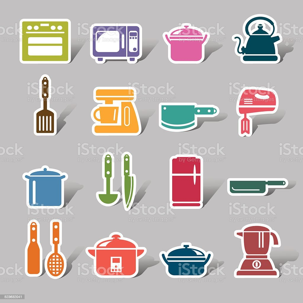 Küchenutensilien Und Küchengeräten Farbe Icon Label Vektor ...