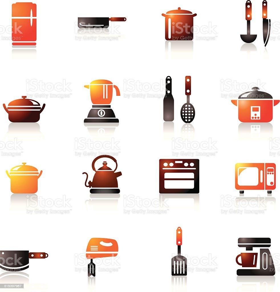 Ilustra O De Eletrodom Sticos E Utens Lios De Cozinha Colorida