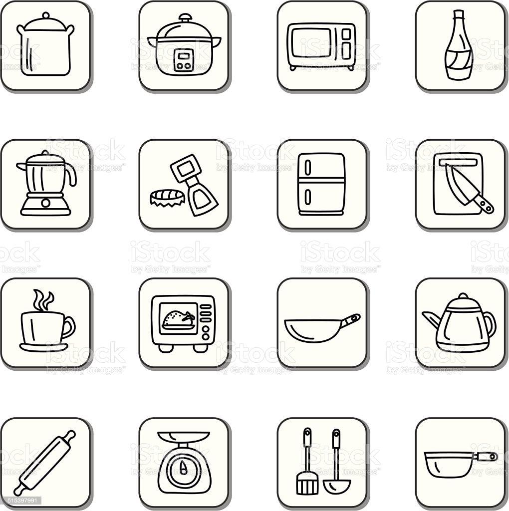 Kuchenutensilien Und Kuchengeraten Doodle Symbole Stock Vektor Art Und Mehr Bilder Von Abluftventilator Istock