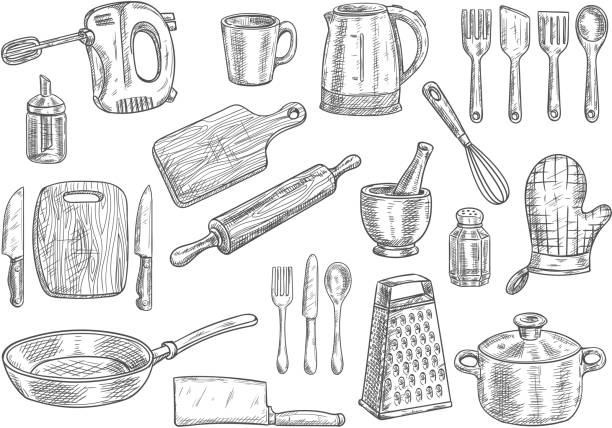 Kitchen utensils and appliances isolated sketches Kitchen utensils and appliances isolated sketches. Cooking pot, knife, fork, frying pan, spoon, cup, spatula, electric kettle, hand mixer, cutting board, whisk, rolling pin and grater cooking drawings stock illustrations