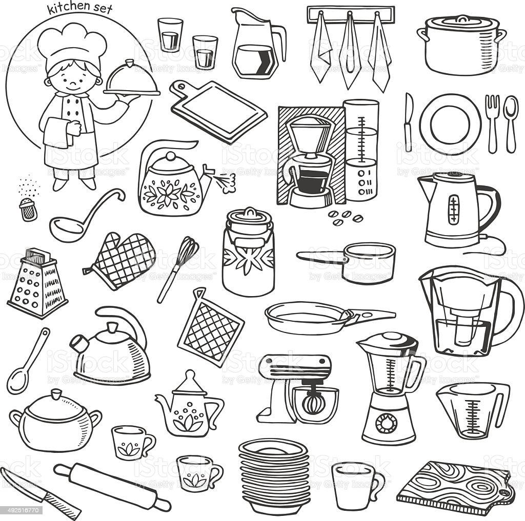 Kitchen Utensils And Appliances Vector Icons Set Stock Vector Art ...