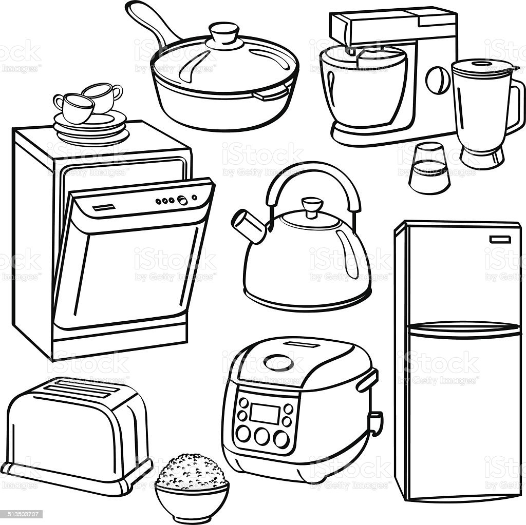 Kitchen Utensils And Appliances Stock Vector Art & More Images of ...