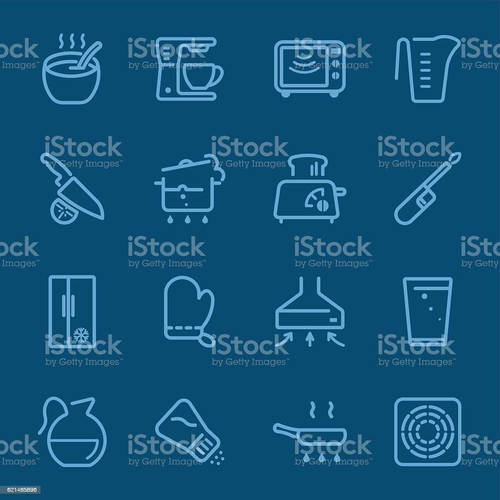 Kitchen Utensils and cooking blue line icon 1 Lizenzfreies kitchen utensils and cooking blue line icon 1 stock vektor art und mehr bilder von bildhintergrund