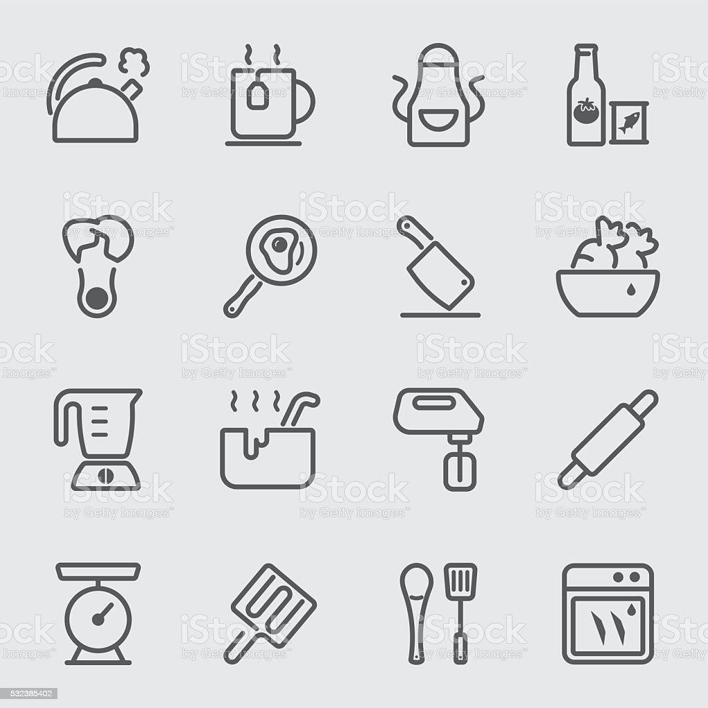 Kuchenutensilien Und Kochen Symbol Zwei Leitungen Stock Vektor Art Und Mehr Bilder Von Arrangieren Istock