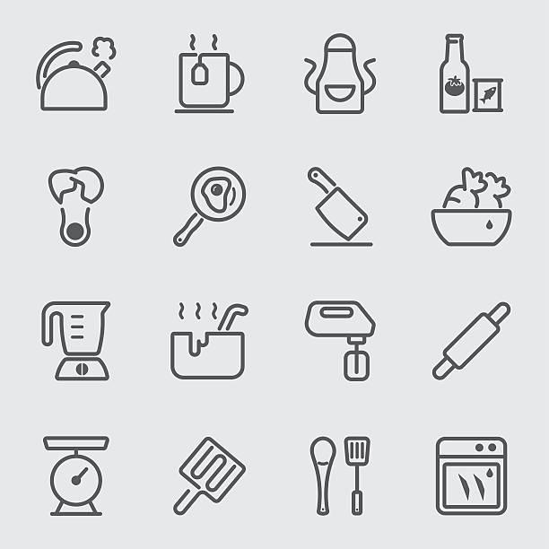bildbanksillustrationer, clip art samt tecknat material och ikoner med kitchen utensils and cooking line icon 2 - frying pan