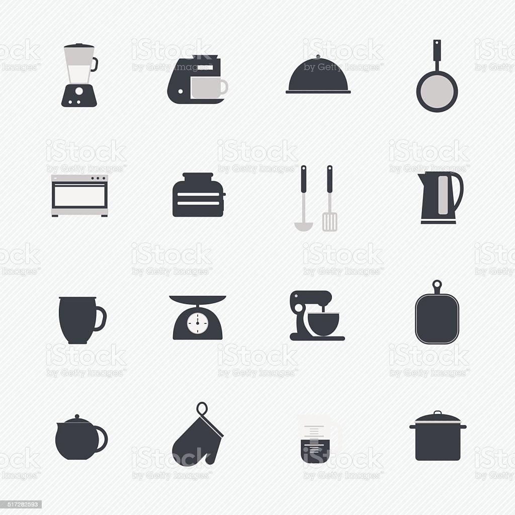 Kuchenutensilien Und Geschirr Symboleset Stock Vektor Art Und Mehr Bilder Von Ausrustung Und Gerate Istock