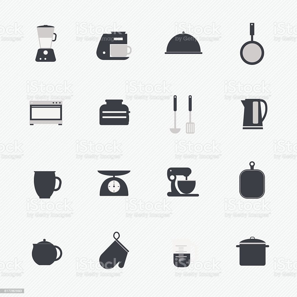 Kitchen utensils and cookware icons set vector art illustration