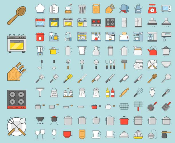 Kitchen utensils and device, bakery equipments, chef uniform and household appliance 100 icons, drawing on grid system, filled thin outline icon 1 px stroke Kitchen utensils and device, bakery equipments, chef uniform and household appliance 100 icons, drawing on grid system, filled thin outline icon 1 px stroke measuring cup stock illustrations
