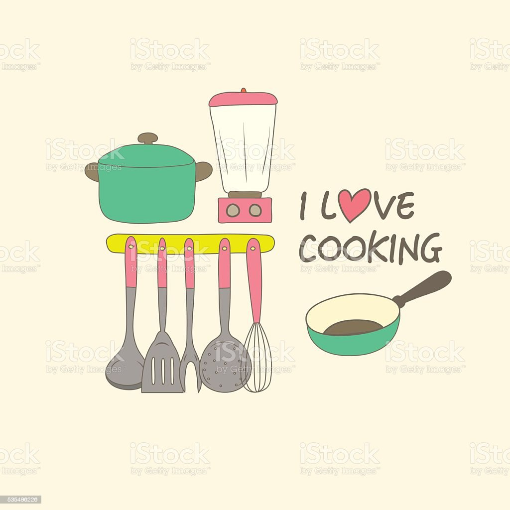 Kitchen Utensils And Equipment With I Love Cooking Message Stock ...
