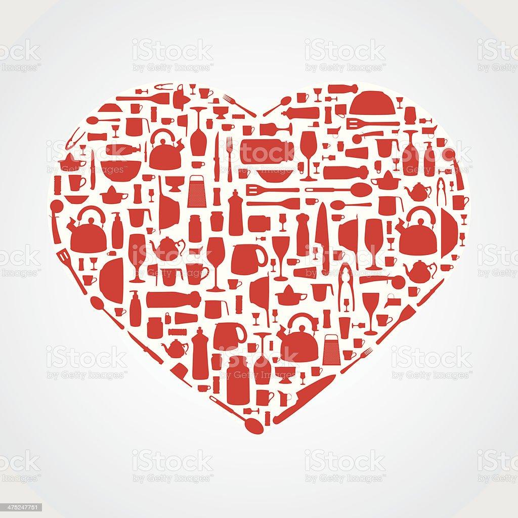 Kitchen utensils as heart shape royalty-free stock vector art