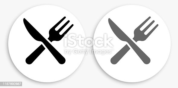 Kitchen Utensils Black and White Round Icon. This 100% royalty free vector illustration is featuring a round button with a drop shadow and the main icon is depicted in black and in grey for a roll-over effect.