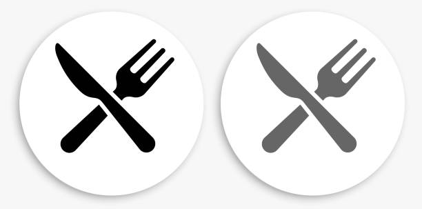 Kitchen Utensils Black and White Round Icon vector art illustration