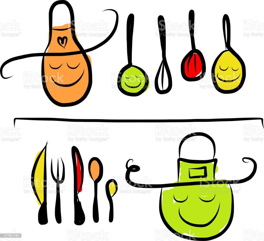 Dibujos De Cocina | Utensilios De Cocina En Los Estantes Caracteres De Dibujo Para Su