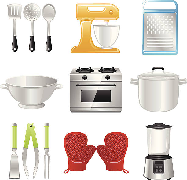 kitchen utensils, cooking, restaurant - mixing bowl stock illustrations, clip art, cartoons, & icons