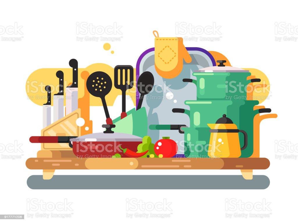 Ilustración de Utensilios De Cocina De Diseño Plano y más banco de ...