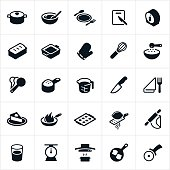 Kitchen Utensils, Dishware and Cookware Icons