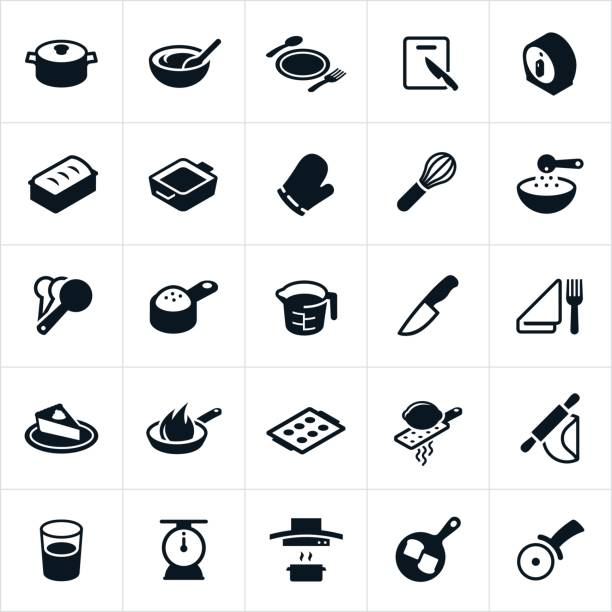kitchen utensils, dishware and cookware icons - mixing bowl stock illustrations, clip art, cartoons, & icons