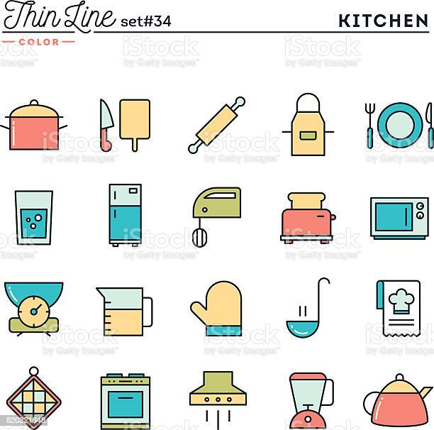Kitchen utensils food preparation and more thin line color icons vector id520321648?b=1&k=6&m=520321648&s=612x612&h=rrinvv0jzj bdbbogciyrcgpggqek99i32tuga2hcty=