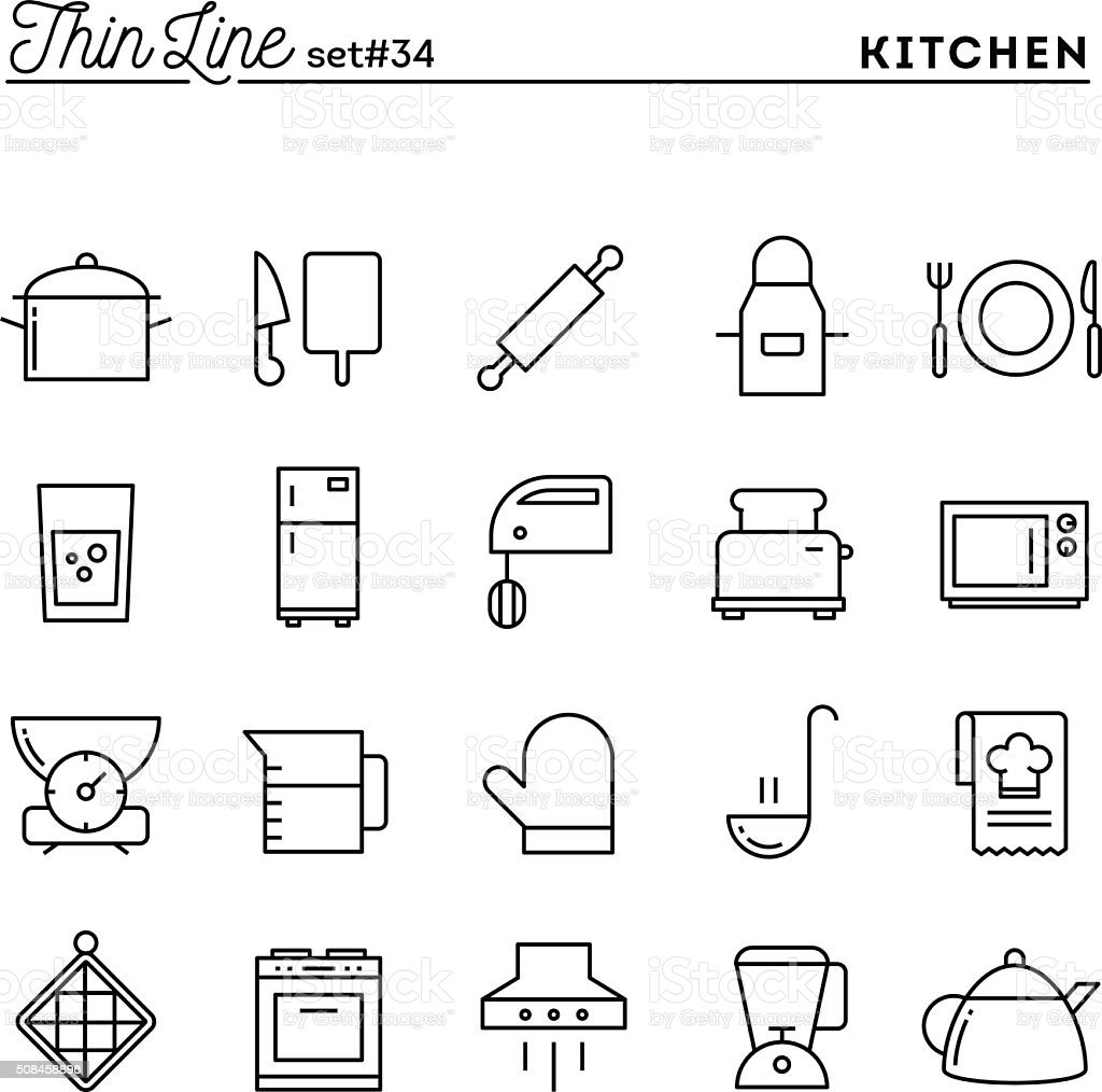 Kitchen utensils, food preparation and more, thin line icons set vector art illustration