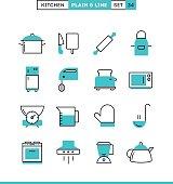 Kitchen utensils, food preparation and more. Plain and line icons set, flat design, vector illustration