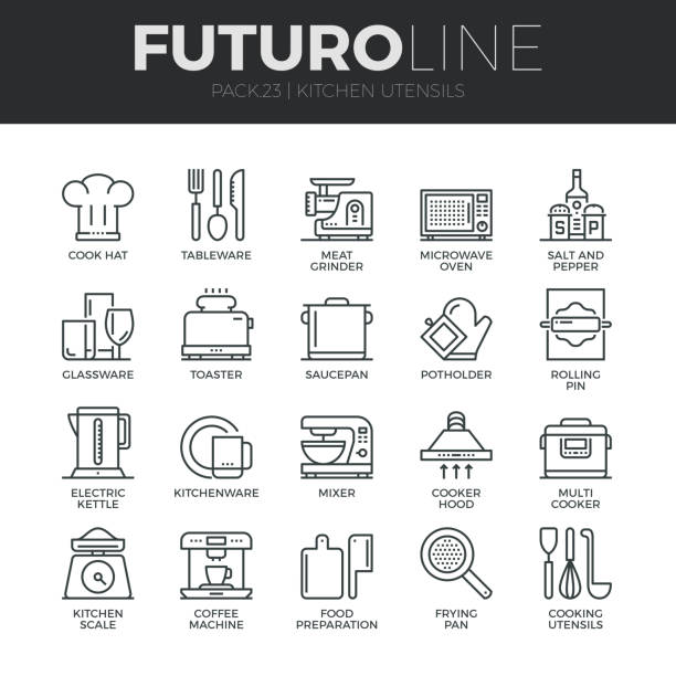 bildbanksillustrationer, clip art samt tecknat material och ikoner med kök köksredskap futuro linje ikoner set - frying pan