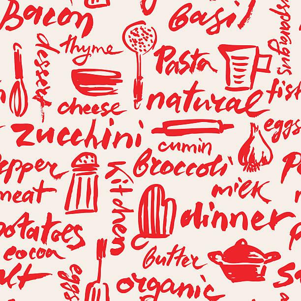 Kitchen Utensils Hand Drawn Seamless Pattern Kitchen Utensils Hand Drawn Seamless Pattern cooking designs stock illustrations