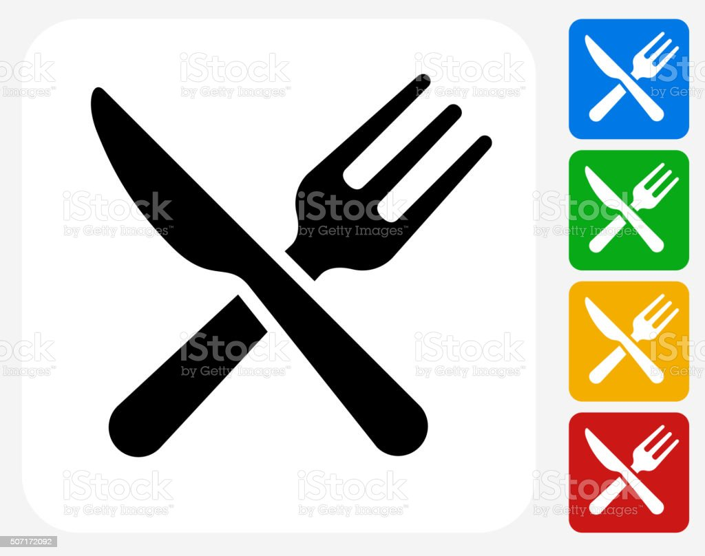 Kitchen Utensils Icon Flat Graphic Design